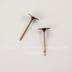 Пуссеты - гвоздики с круглой площадкой 6 мм (цвет - античная медь) 5 пар (без заглушек)