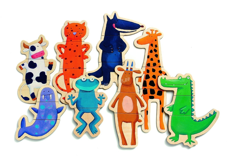 Магнитный деревянный пазл Забавные животные Djeco