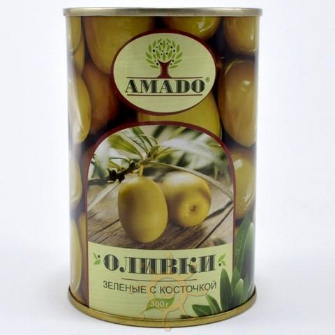Оливки зеленые с косточкой в ж/б Амадо, 300г