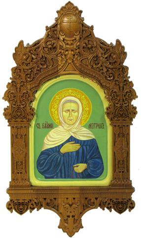 Рукописная икона Блаженная старица Матрона Московская на кипарисе 20х15см в резном киоте