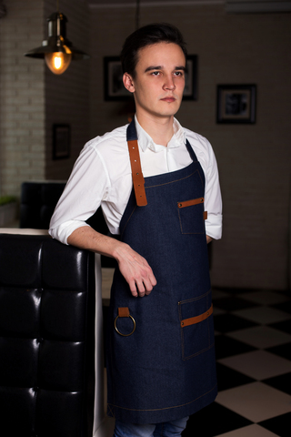 Asymmetry Blue Denim Apron with Leather Inserts