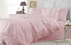 Набор КПБ с  покрывалом ПИКЕ  + полотенце FUNDA Gelin Home  розовый евро