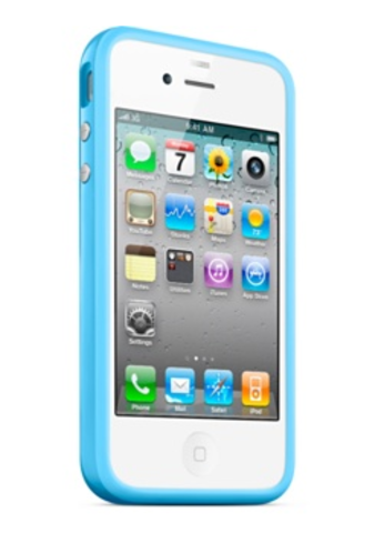 Чехол для iPhone Apple для iPhone 4 Bumper MC670B голубой