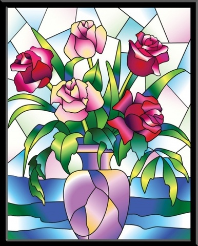 Розы - картина-витраж, HG012