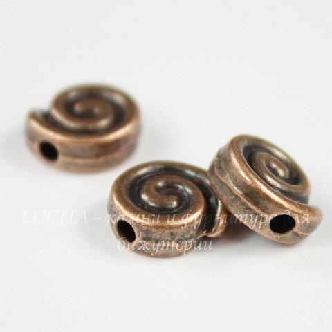 """Бусина металлическая """"Спираль"""" 9х8 мм (цвет - античная медь)"""