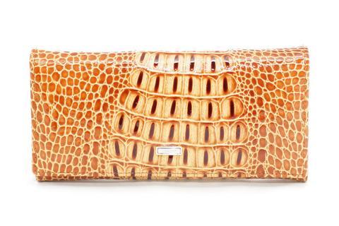 Жёлтый кошелёк женский лаковый Coscet нат.кожа CS21-201F