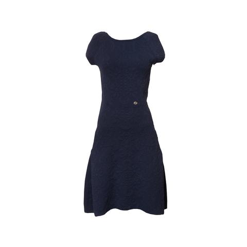 Изысканное платье из трикотажа синего цвета от Chanel, 36 размер.
