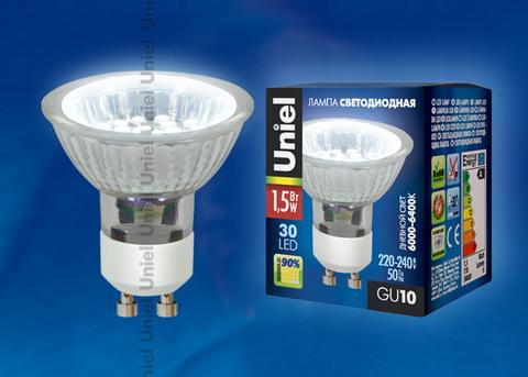 LED-JCDR-SMD-1,5W/DW/GU10 110 lm Светодиодная лампа. Картонная упаковка.