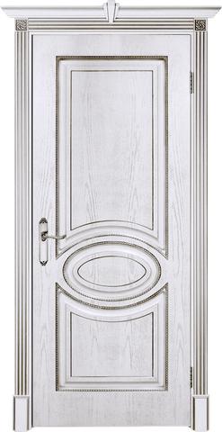 Дверь Prestigio Лувр-4, цвет шпон эмаль белая/патина серебро, глухая