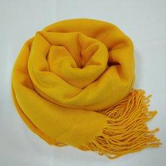 Кашемировый однотонный жёлтый палантин (32)