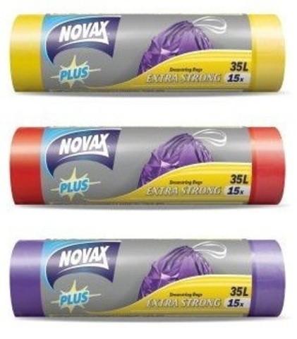 Пакеты для мусора Novax 35л/15 шт. с затяжками