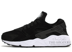Кроссовки Мужские Nike Air Huarache Black White Suede