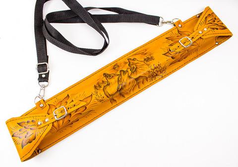 Мангал с шампурами в кожаном чехле