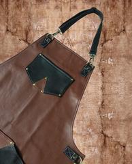 Мужской брутальный двухцветный кожаный фартук