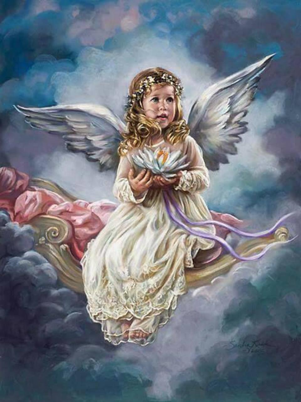 Картина раскраска по номерам 30x40 Ангелок на качели в ...