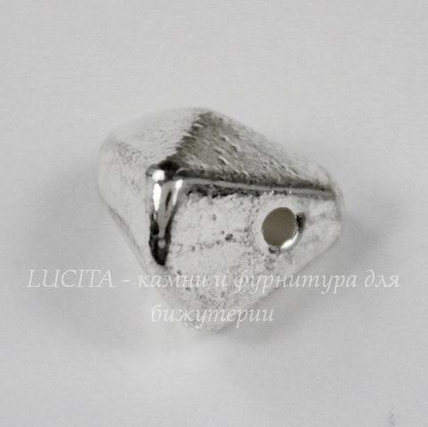 """Бусина металлическая """"Многогранник"""" (цвет - античное серебро) 11х9 мм"""