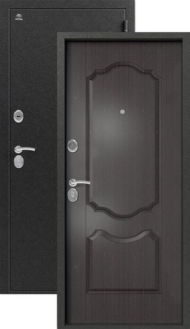 Дверь входная Сибирь S-1/1, 2 замка, 1 мм  металл, (серебро+венге)