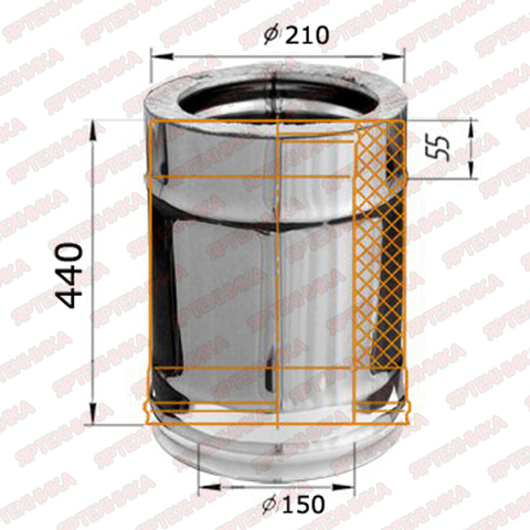 Труба-сэндвич 0,5м d150х210мм (430/0,5мм+оцинк) Ferrum