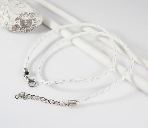 PL261-3 Кожаный шнур с застежкой белого цвета (45 см)