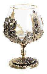 Бокал для коньяка Россия в деревянной шкатулке