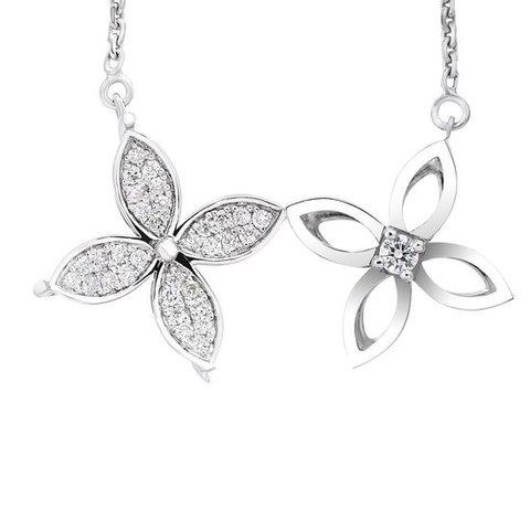 Колье двойной цветок, серебро