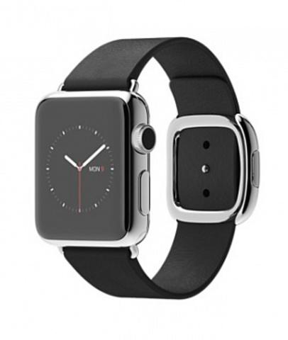 Купить Часы Apple Watch 38мм (черный кожаный с современной пряжкой) по доступной цене