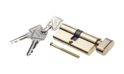 Фурнитура - Цилиндр  Palidore ключ-барашек, цвет золото