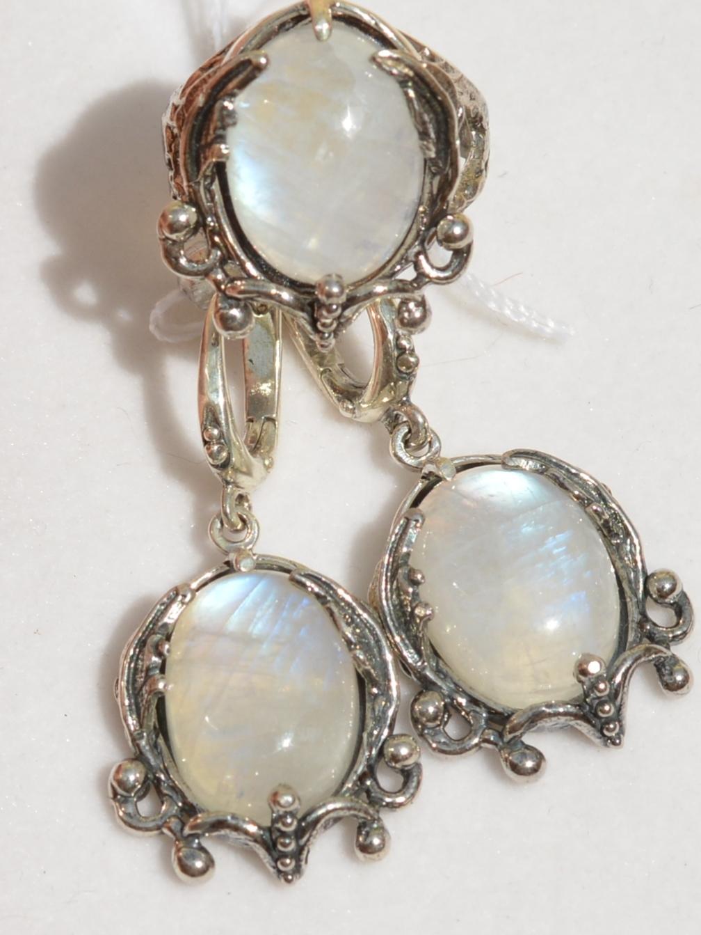 Лавани-лунный (кольцо + серьги из серебра)