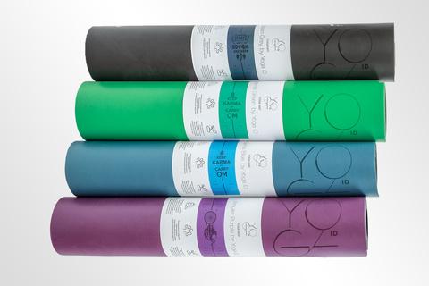 Каучуковый йога коврик Karma Grey c разметкой 185*68*4,5см