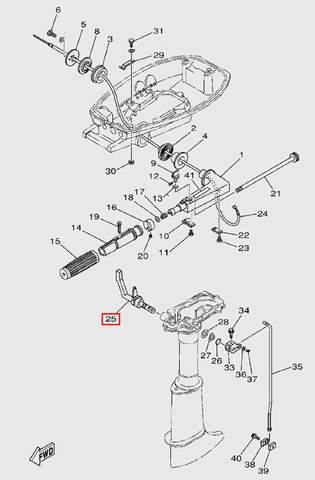 Ручка переключения передач для лодочного мотора T5 Sea-PRO (9-25)