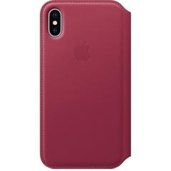 Кожаный чехол Apple Leather Folio для iPhone X, цвет (Berry) лесная ягода