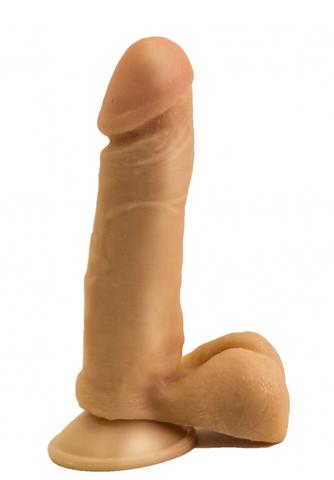 Гелевый фаллоимитатор с мошонкой (4 х 16 см)