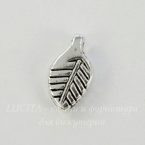 """Подвеска """"Листик"""" 11х6 мм (цвет - античное серебро), 5 штук"""