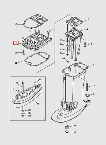 Коллектор выхлопа  для лодочного мотора T40 Sea-PRO (22-1)