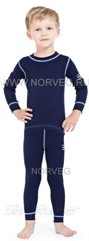 Термобелье комплект из шерсти мериноса Norveg Soft Dark blue детский