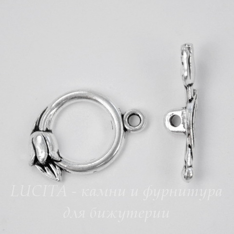"Замок - тоггл из 2х частей ""Тюльпан"" 20х14 мм, 22 мм (цвет - античное серебро)"