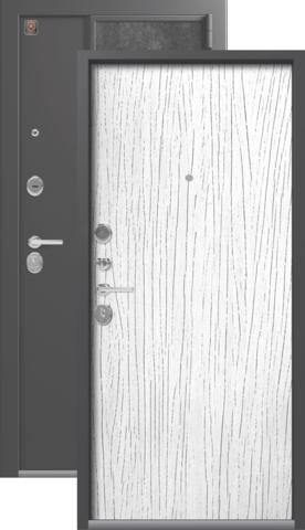 Тёплая дверь входная Легион L-7, 2 замка, 1,5 мм  металл, (серый шёлк+белое дерево)