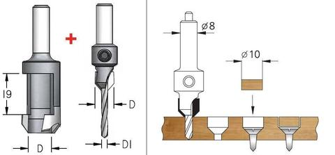 Комплект сверла-зенковки и пробочного сверла d 4 мм  PL10405