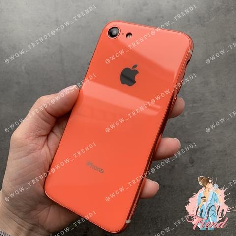 Чехол iPhone 7/8 Glass Silicone Case Logo /orange/