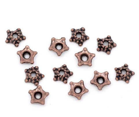 "Шапочка для бусины ""звездочка"" (цвет - античная медь) 5х1,5 мм, 10 штук ()"