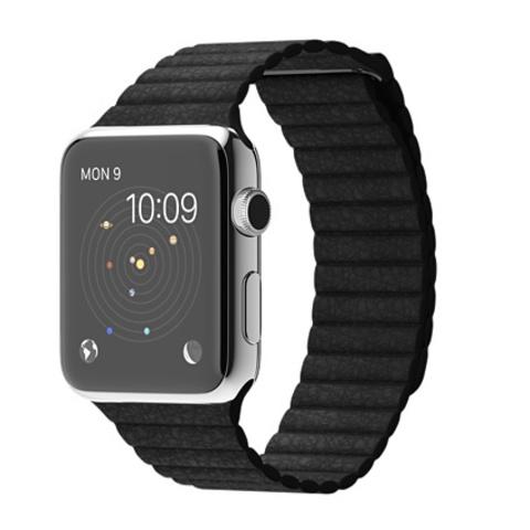Купить Часы смарт Apple Watch 42мм (черный кожаный с магнитной застежкой) по доступной цене