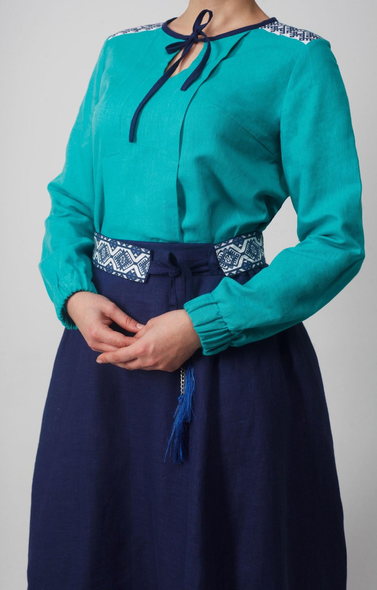 Блуза Самоцветы бирюза рукав