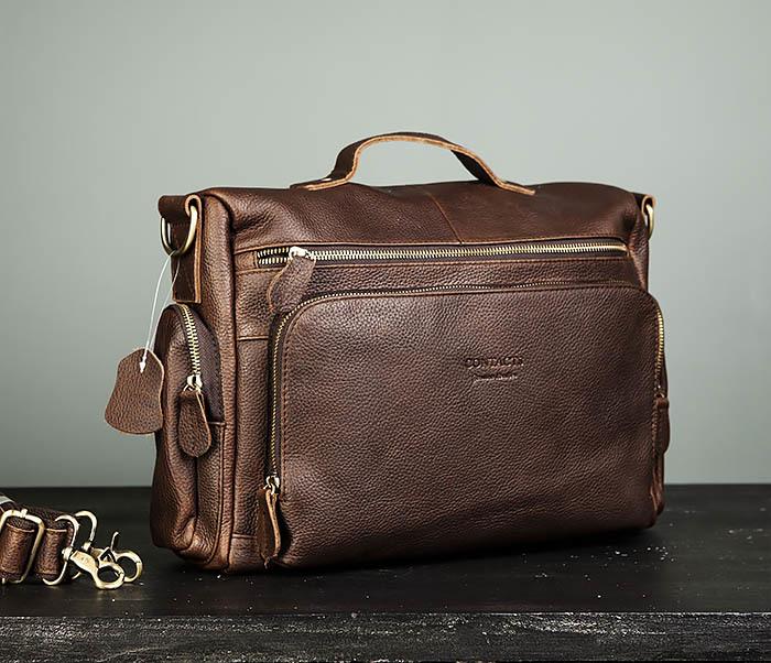 Мужской портфель из натуральной кожи с ремнем