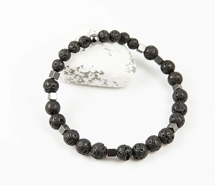 BS777 Стильный мужской браслет из гематита и лавы
