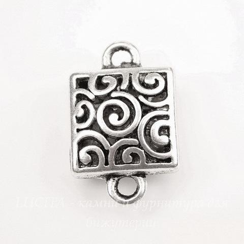 """Коннектор """"Спиральки"""" (1-1) 23х15 мм (цвет - античное серебро)"""