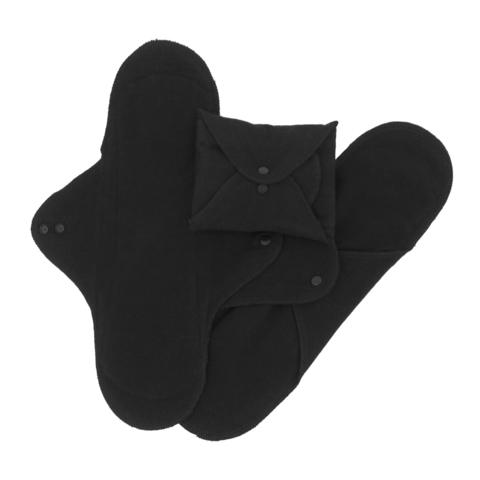 Многоразовые прокладки женские, Ночные, 3шт., Black