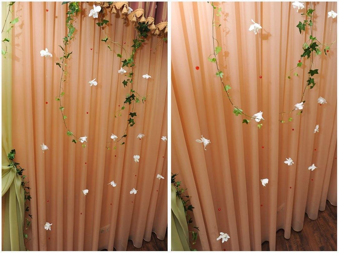 Драпировка задника на свадьбу + тайская орхидея + композиции 85 000 тг