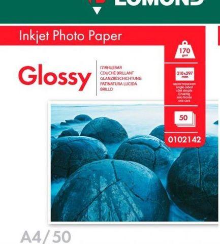 Односторонняя глянцевая фотобумага Lomond для струйной печати, A4, 170 г/м2, 50 листов (0102142)