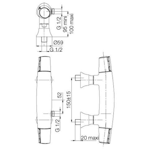 Смеситель для душа термостат  Jacob Delafon Symbol E71683-CP схема