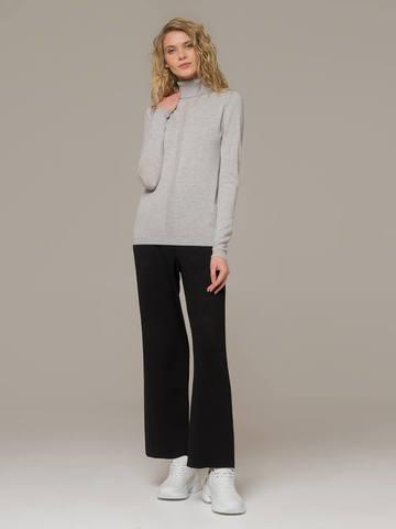 Женский джемпер цвета светло-серый меланж из шерсти и шелка - фото 4